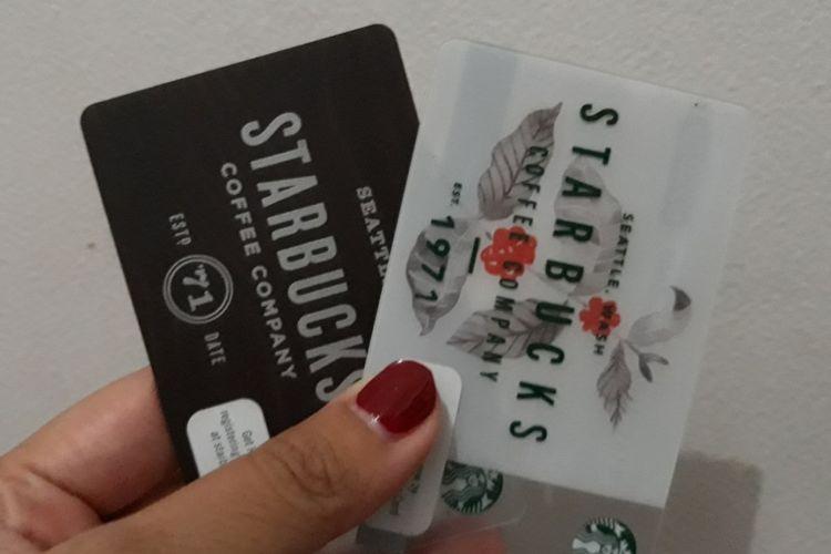Uang elektronik Starbucks Card yang diterbitkan oleh Starbucks Indonesia.