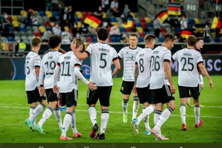Timnas Jerman menang telak 7-1 atas Latvia dalam laga uji coba menjelang Euro 2020 Satdion Merkur-Spiel-Arena, Selasa (8/6/2021) dini hari WIB.