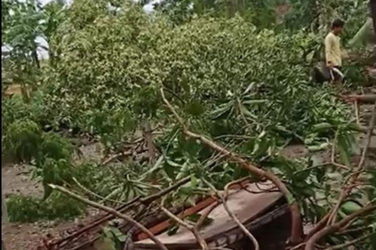 Hujan deras disertai angina kencang membuat sejumlah rumah di Kabupaten Ngawi rusak parah dan ditimpa pohon tumbang.