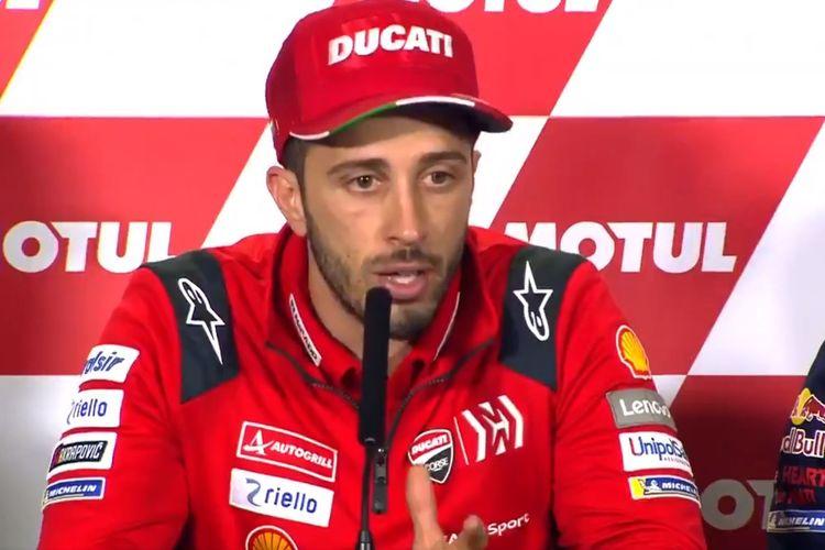 Pembalap Ducati, Andrea Dovizioso, berbicara kepada media usai MotoGP Thailand 2019.