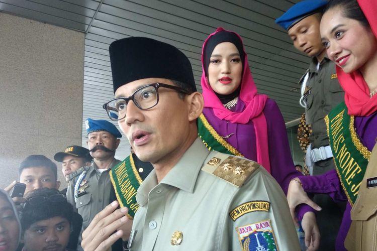 Wakil Gubernur DKI Jakarta Sandiaga Uno di Kantor Wali Kota Jakarta Selatan, Selasa (22/5/2018).