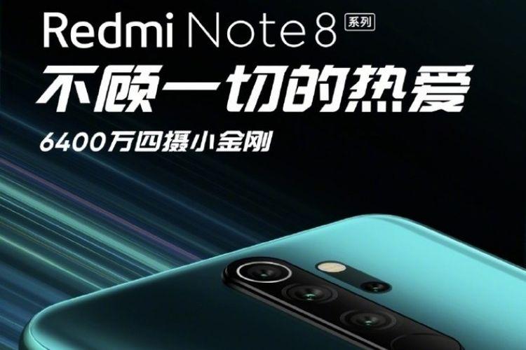 Ilustrasi poster Redmi Note 8 dengan empat kamera dan kamera 64 megapiksel.