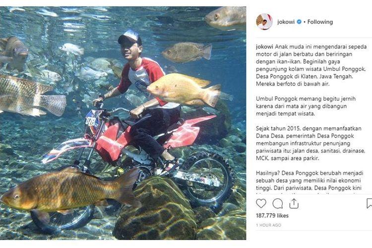 Unggahan di akun Instagram Joko Widodo tentang Umbul Ponggok.
