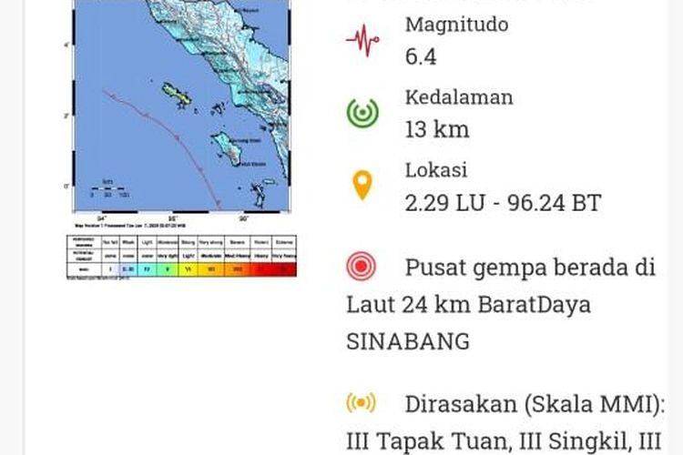 Tangkapan Layar terkait Gempa Bumi Sinabang, Aceh, yang dirilis BMKG.