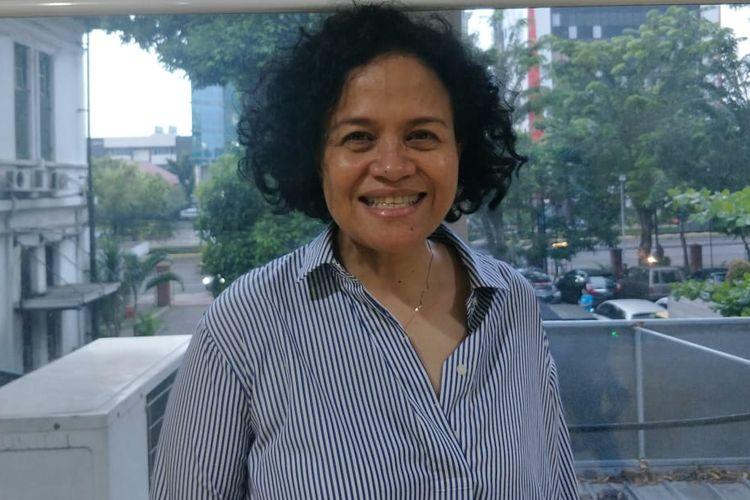 Mira Lesmana saat ditemui di lokasi shooting film Bebas di Kramat Raya, Jakarta Pusat, Kamis (18/4/2019).