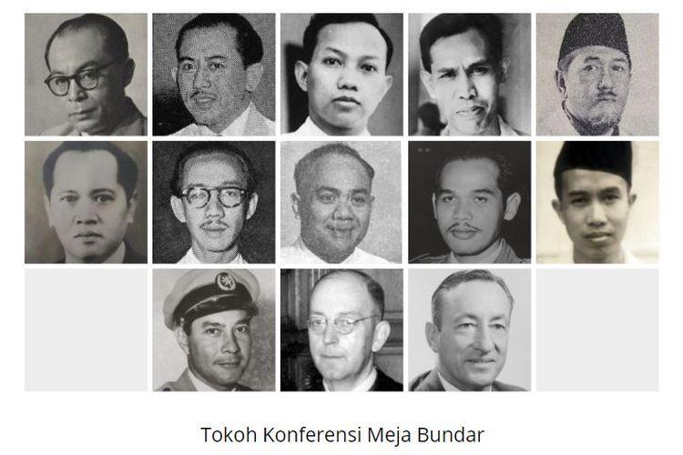 Tokoh Konferensi Meja Bundar (KMB). Baris pertama (Delegasi Indonesia, dari kiri ke kanan): Drs Moh.Hatta (Ketua), Mr. Moh.Roem, Prof. Dr. Soepomo, dr. J.Leimena, dan Mr. Ali Sastroamidjoyo. Baris kedua (Delegasi Indonesia, dari kiri ke kanan): Mr. Suyono Hadinoto, Dr. Sumitro Djojohadikusumo, Mr. Abdul Karim Pringgodigdo. Kolonel T. B. Simatupang, dan Mr. Muwardi. Baris Ketiga (dari kiri ke kanan): Sultan Hamid II (BFO), Mr. van Maarseveen (Belanda), Tom Critchley (UNCI).
