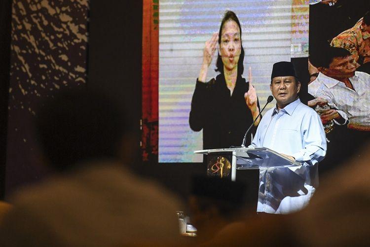 Calon Presiden nomor urut 02 Prabowo Subianto berpidato saat menghadiri peringatan Hari Disabilitas Internasional di Jakarta, Rabu (5/12/2018). Dalam acara tersebut Prabowo menyatakan akan memperjuangkan dan memperhatikan kaum difabel agar hidup terhormat dan layak serta mendapatkan fasilitas yang memadai. ANTARA FOTO/Hafidz Mubarak A/ama.