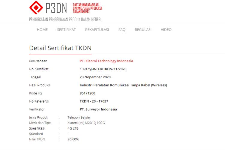 Sertifikasi Poco M3 yang terdaftar di laman TKDN Kemenperin.