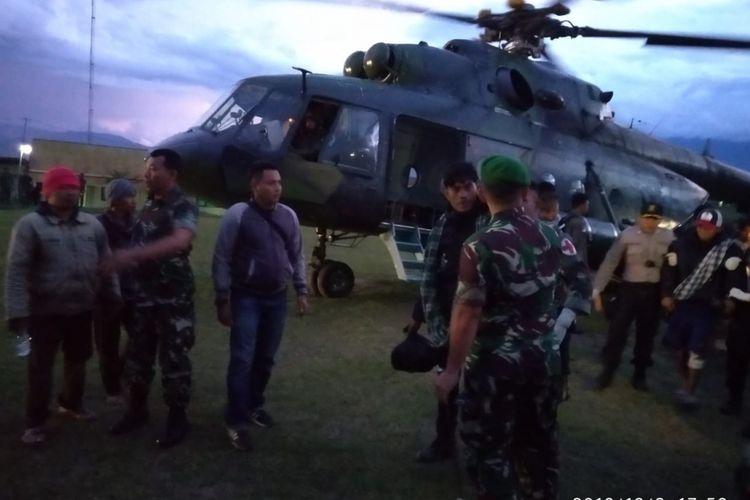 Helikopter yang digunakan untuk melalukan evakuasi di Nduga