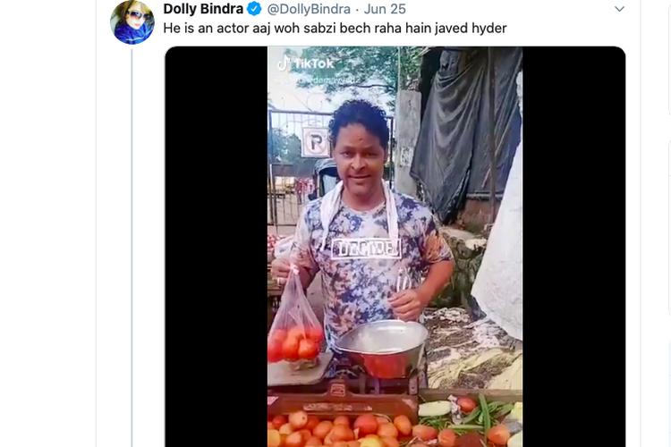 Aktor Bollywood Javer Hyder sedang berjualan sayur di pasar di tengah pandemi virus corona yang melanda seluruh dunia, termasuk India.