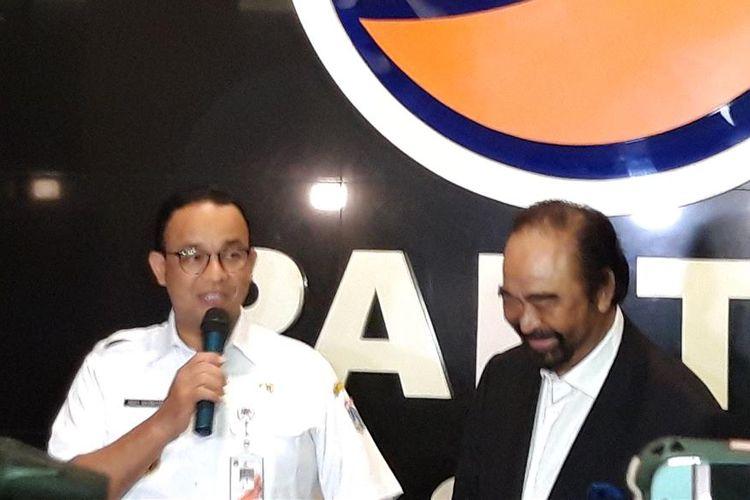 Gubernur DKI Jakarta Anies Baswedan dan Ketua Umum Partai Nasdem Surya Paloh, di Gedung DPP Partai Nasdem, Rabu (24/7/2019)
