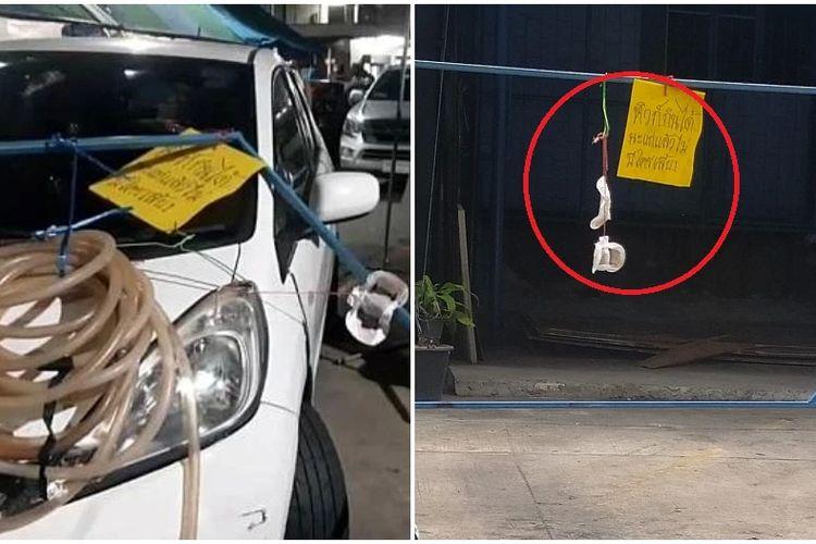 Mobil Honda Jazz yang dimiliki Nang Noi dirusak oleh Nang Noi, sesama warga kampung di Thailand yang berebut lahan parkir dengannya.