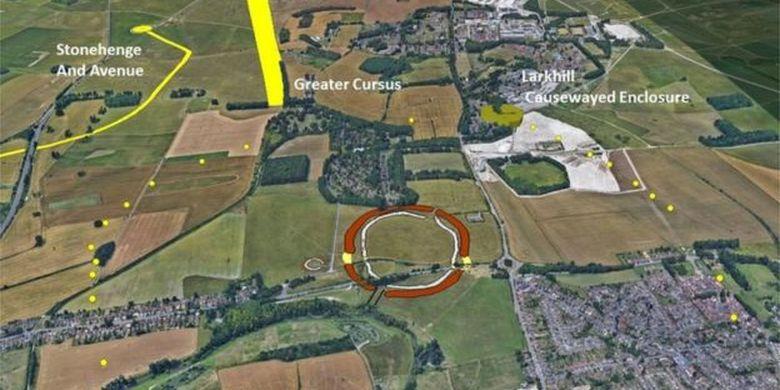 Lingkaran kuning menandari lokasi penemuan lubang. Durrington Walls ditandai dengan lingkaran coklat besar, sementara Stonehenge terletak di ujung kiri atas.