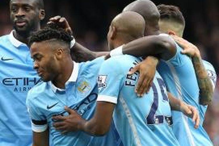 Raheem Sterling tampil gemilang saat Manchester City menang atas Bournemouth, Sabtu (17/10/2015).