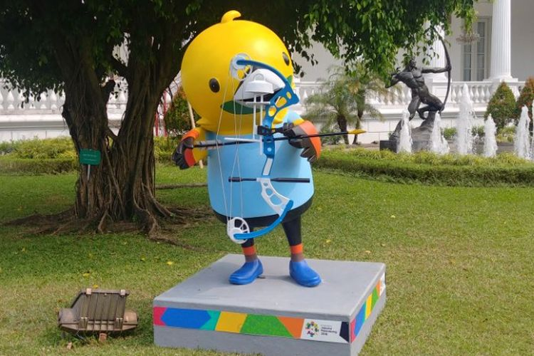 Maskot Ada Games 2018 di Istana Kepresidenan, Jakarta, Senin (14/5/2018).