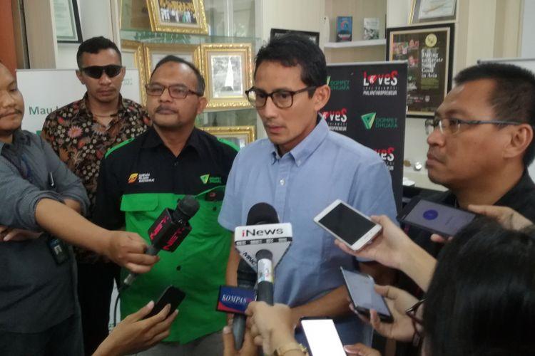 Calon wakil presiden Sandiaga Uno di Dompet Dhuafa, Jakarta, Senin (1/10/2018)