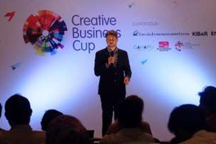 Suasana CBC Indonesia saat Dubes Denmark Casper Clynge memberikan sambutan pembukaan kompetisi, di Jakarta Convention Center, Jumat (12/8/2016).