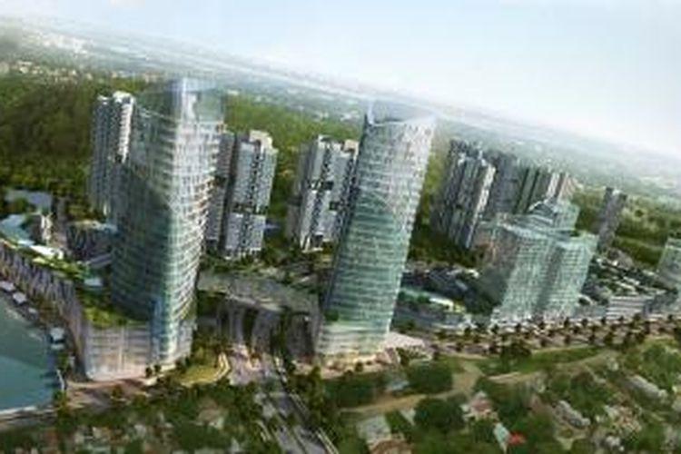 Citra kondominium dan pusat rekreasi Forest City Iskandar Malaysia.