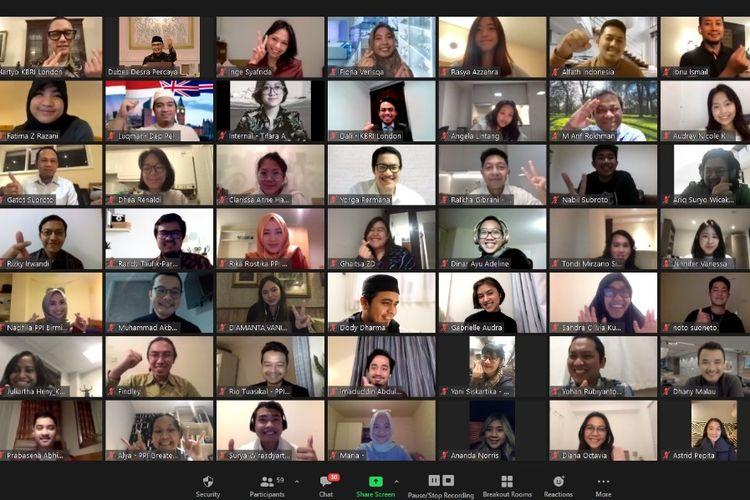 Tangkapan layar kegiatan pertemuan virtual yang digelar Kedutaan Besar Republik Indonesia (KBRI) di London dengan Perhimpunan Pelajar Indonesia (PPI) di Inggris dan Irlandia, Kamis (17/12/2020).