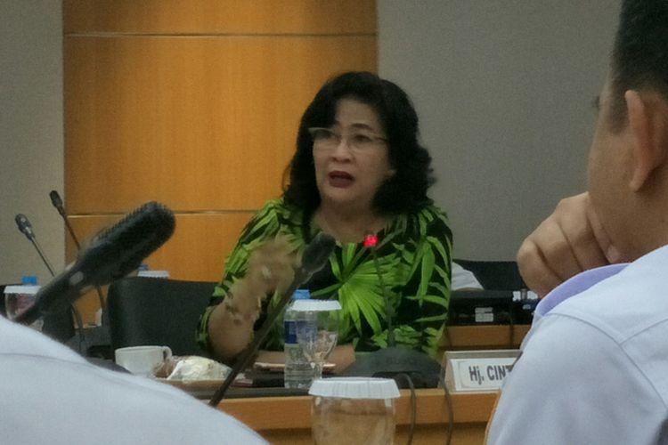 Anggota Komisi C DPRD DKI Jakarta, Cinta Mega, dalam rapat tentang pembangunan rumah DP 0 rupiah bersama Dinas Perumahan DKI di Gedung DPRD DKI, Rabu (31/1/2018).