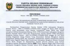 Berikut Jadwal dan Hal yang Perlu Diperhatikan dalam SKB CPNS 2019 Bengkulu Selatan