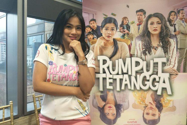 Titi Kamal saat ditemui dalam jumpa pers peluncuran poster dan trailer film Rumput Tetangga di kawasan Sudirman, Jakarta Selatan, Kamis (21/3/2019).
