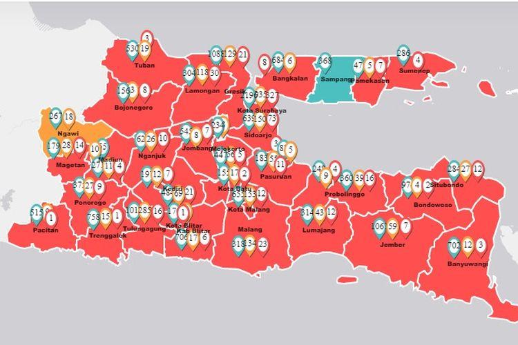 Kasus positif Covid-19 di Jawa Timur bertambah 28 kasus hingga Jumat (24/2/2020). Dari 28 kasus tambahan, 4 kasus di antaranya berasal dari Kabupaten Sumenep yang sebelumnya berstatus daerah dengan zona hijau atau hanya didapati Orang Dalam Pemantauan (ODP).
