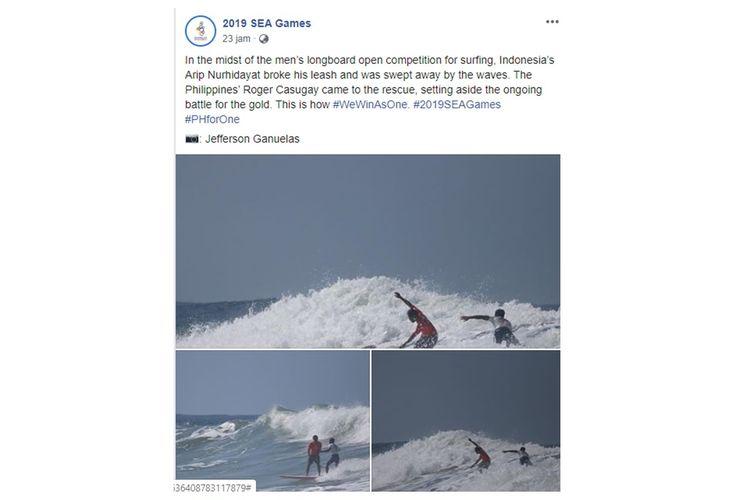Screen shoot unggahan momen penyelematan atlet surfing Indonesia oleh atlet Filipina