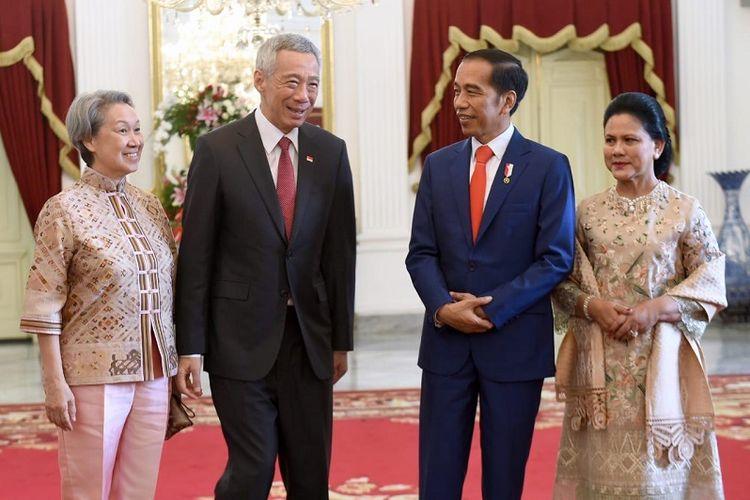 Perdana Menteri Singapura Lee Hsien Loong dan istri Ho Ching melakukan kunjungan kehormatan kepada Presiden Jokowi dan Ibu Negara Iriana Widodo di Istana Merdeka, Minggu (20/10/2019)