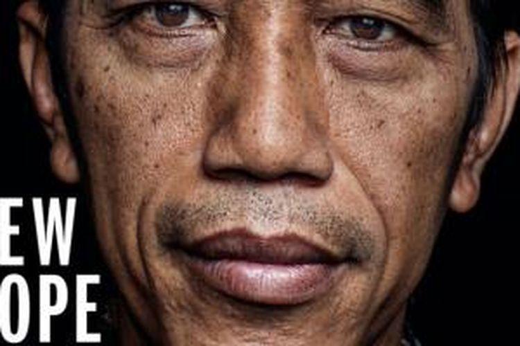 Potongan cover majalah Time yang memuat foto Jokowi