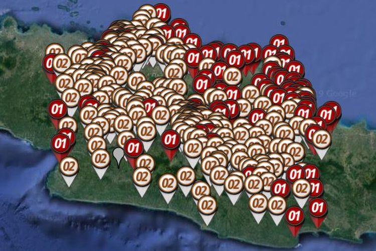 Peta sebaran hitung cepat atau quick count Pilpres 2019 yang dirilis oleh Litbang Kompas pada Rabu (17/4/2019) hingga pukul 21.00 WIB di di Jawa Barat.