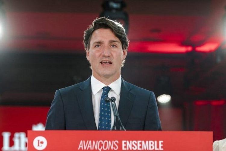 Perdana Menteri Justin Trudeau menyampaikan pidato kemenangan pemilu Kanada di Hotel Queen Elizabeth, Montreal, Quebec, Selasa dini hari (21/9/2021) waktu setempat. Trudeau memenangi periode ketiga dan akan membentuk pemerintahan minoritas kedua untuk empat tahun ke depan