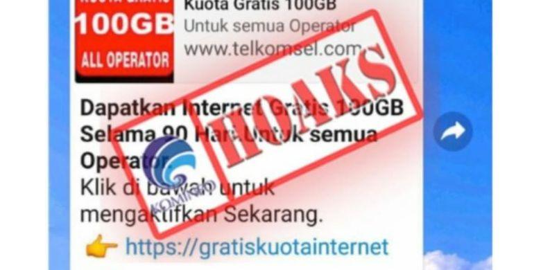 Hoaks Kuota Data Gratis 100 Gb Beredar Di Whatsapp Halaman All Kompas Com