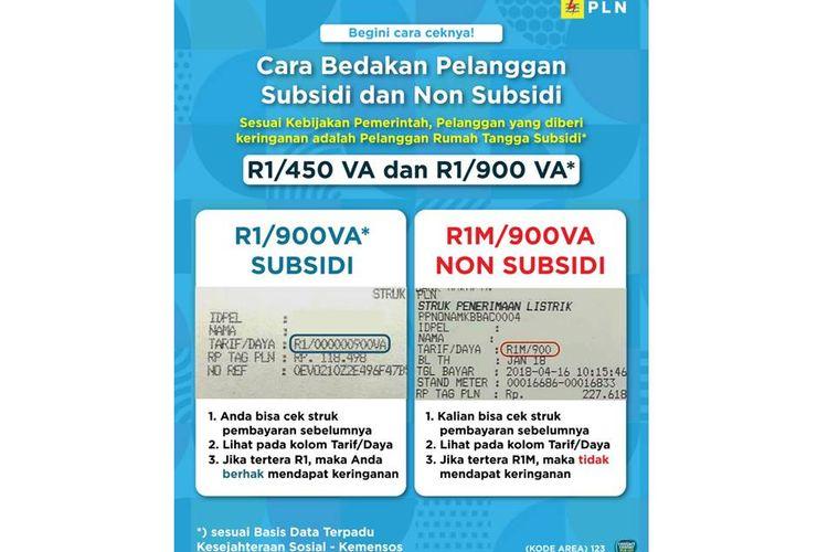 Ilustrasi cara membedakan pelanggan subsidi listrik dengan non-subsidi listrik.