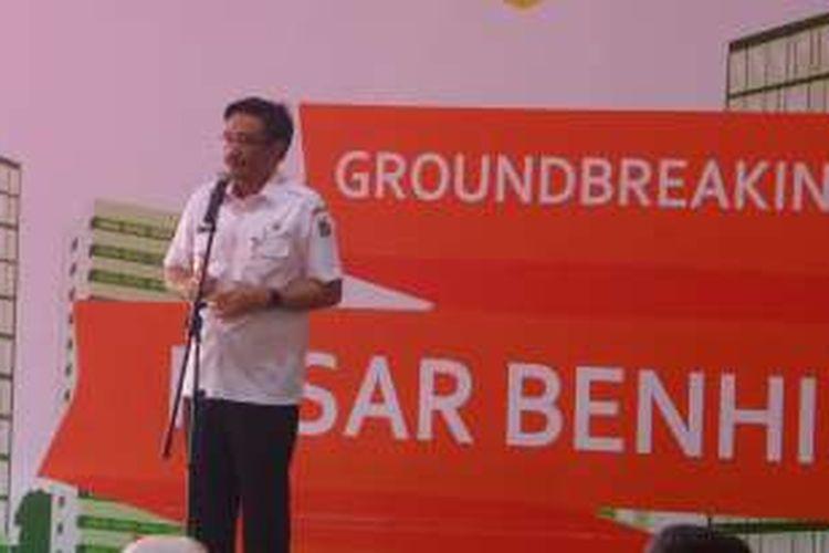 Wakil Gubernur DKI Djarot Saiful Hidayat menghadiri ground breaking pembangunan Pasar Benhil menjadi Benhil Central, Rabu (26/10/2016).