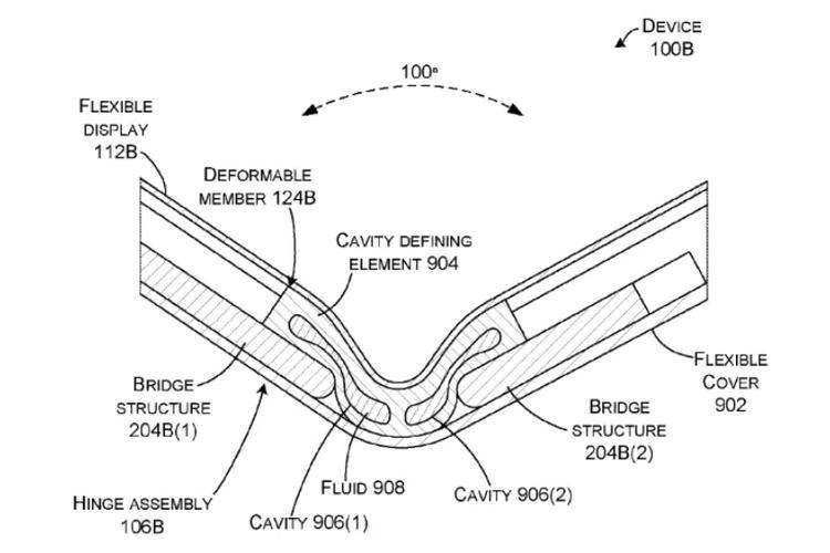 Ilustrasi paten perangkat lipat Microsoft