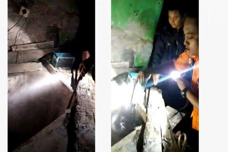 Tangkap layar video air sumur di rumah warga Desa Grobog Wetan Kecamatan Pangkah, Kabupaten Tegal berubah menjadi panas.