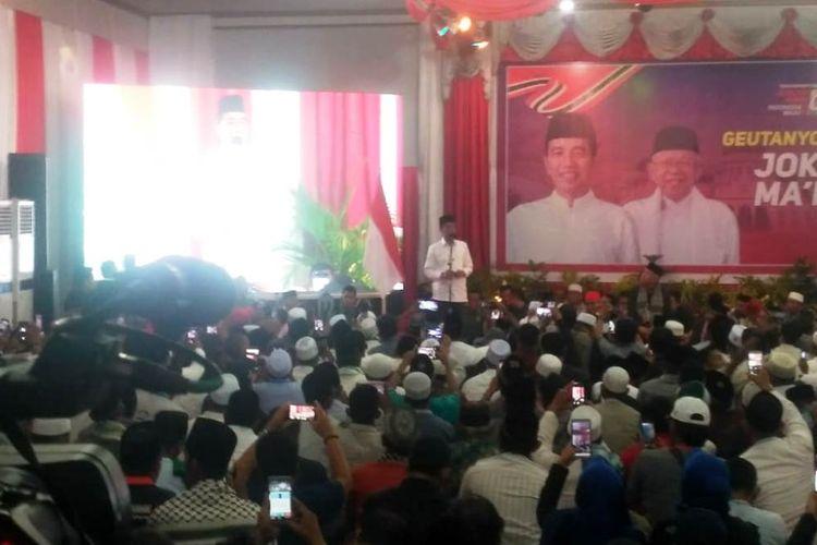 Jokowi saat berkampanye di Hotel Lido Graha, Lhokseumawe, Selasa (26/3/2019).