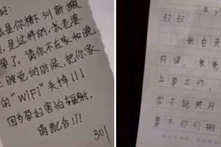 Seorang pria di China menyurati tetangganya agar bersedia mematikan Wifi karena istrinya takut terkena radiasi.Tetangganya merespons dengan memberikan jawaban menohok.