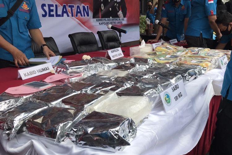 The 131 kilograms of crystal meth confiscated by police in Kebayoran Lama, South Jakarta