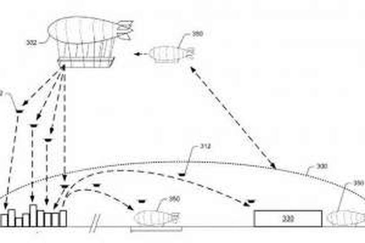 Ilustrasi dalam dokumen paten markas drone yang diajukan Amazon.