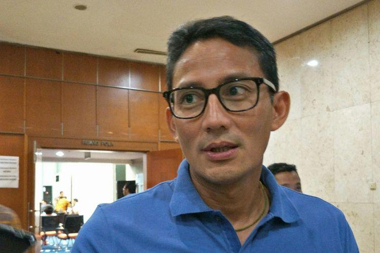 Wakil Gubernur DKI Jakarta Sandiaga Uno di Balai Kota DKI Jakarta, Jalan Medan Merdeka Selatan, Sabtu (4/11/2017).