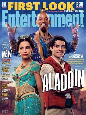 Sampul majalah Entertainment Weekly yang menampilkan tiga karakter utama film live-action Aladdin.