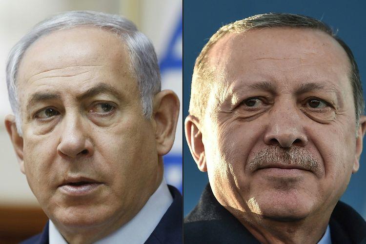 Perdana Menteri Israel Benjamin Netanyahu (kiri) dan Presiden Turki Recep Tayyip Erdogan.