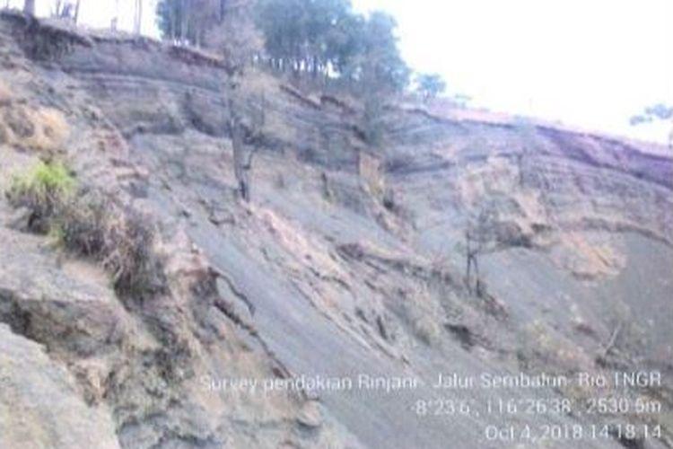 Longsor di Gunung Rinjani, jalur pendakian Sembalun.