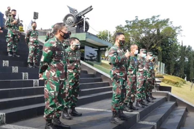 Kepala Staf TNI Angkatan Darat ( KSAD) Jenderal Andika Perkasa mendatangi Secapa AD di Bandung, Jawa Barat, Sabtu (11/7/202).