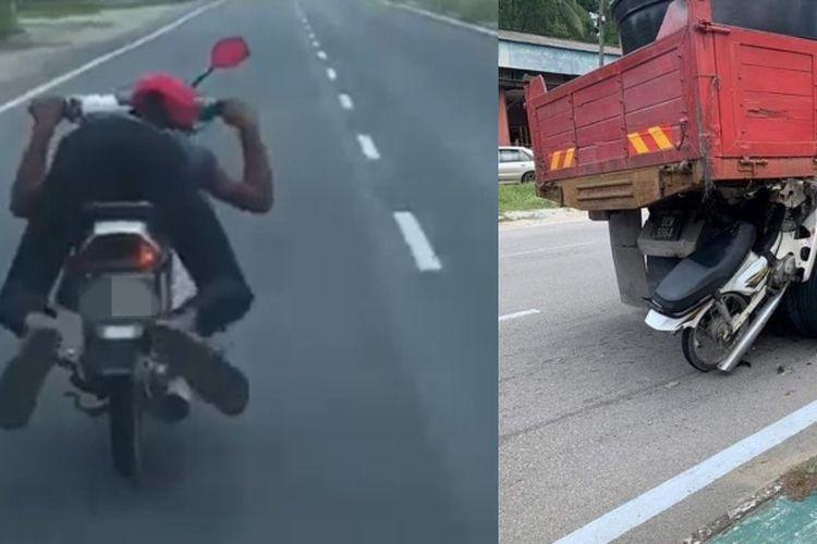 Kolase tangkapan layar dari video pengendara motor yang melaju dengan gaya Superman di Kelantan, Malaysia. Pesepeda motor itu tewas akibat menabrak truk yang sedang putar balik.