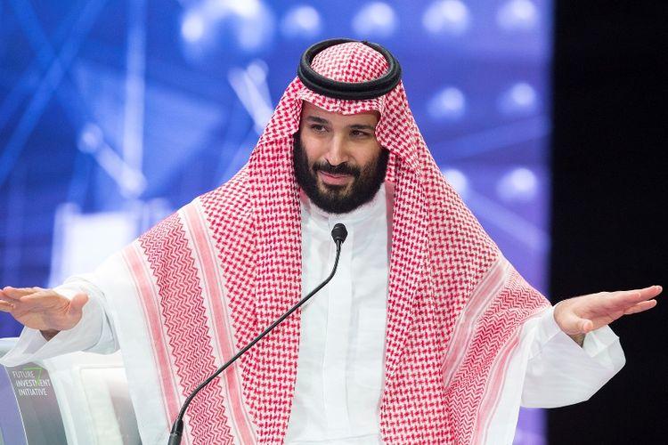 Putra Mahkota Arab Saudi Mohammed bin Salman saat berpidato di forum investasi internasional, Future Investment Initiative (FII) di Riyadh, Rabu (24/10/2018).