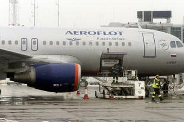 Sebuah Airbus A320 milik maskapai penerbangan Rusia, Aeroflot.