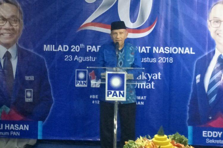 Ketua Dewan Kehormatan Partai Amanat Nasional (PAN) Amien Rais saat berpidato dalam perayaan milad PAN ke 20 di kantor DPP PAN, Jakarta Selatan, Kamis (23/8/2018).